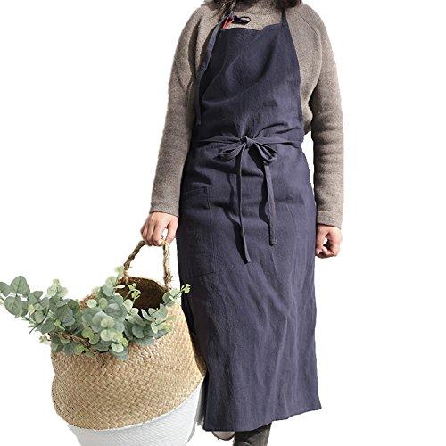 調節可能なよだれかけリネンキッチンエプロンの女性 – XXL – ソリッドカラー( 39 x 39 cmまで調節可能) ブルー  ネイビーブルー B077XKN1ZT