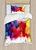 yellow and blue bedding - Abstract Duvet Cover Set Twin Size by Ambesonne, Vibrant Stains of Watercolor Paint Splatters Brushstrokes Dripping Liquid Art, Decorative 2 Piece Bedding Set with 1 Pillow Sham, Red Yellow Blue