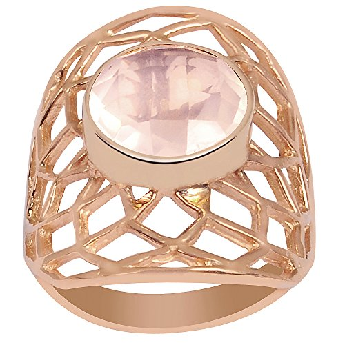 Genuine Checkerboard Round Shape Rose Quartz Gemstone Ring Rose Gold Plated, Handcrafted, Perfect for Wedding, Engagement, Mother Day (2.95 Cttw, 10 MM Round, Available in Size 7, 8)