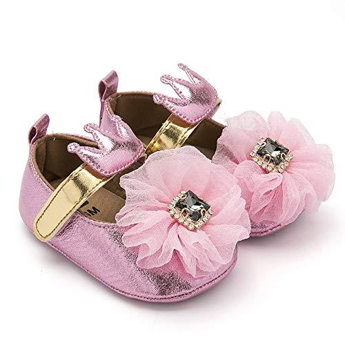 (BubbleColor Baby Girls Dress Shoes Infant Toddler Prewalker PU Anti-Slip Soft Sole Flower Mary Jane Party Princess Crib Shoes(L:12-18 Months/5.12