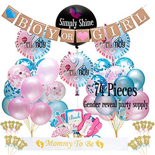 Gender Reveal Party Supplies; for Table Decor Designs Ideas with Giant Black Balloon, Pink, Blue and Gold Confetti, Balloons, Boy or Girl Banner, Photo Booth Props Sticks, Plus Cake Topper Bonus! (74 PCS)