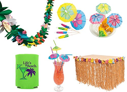Tropical Luau Party Decorations (Grass Table Skirt, 144 Paper Cocktail Umbrella Food Picks, 24 Parasol Straws, Tissue Flower Garland, Bonus Can Cooler