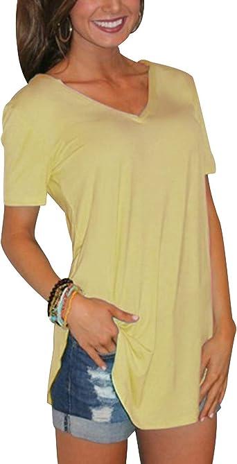 Camiseta Escote V Mujer Larga Camisetas Cuello V Manga Corta Mujeres Basicas Oversize Anchas Tops Verano Casual Remeras Largas Damas Top Chica Playeras Camisas Señora Blusas Amplias Tunica Túnico: Amazon.es: Ropa y