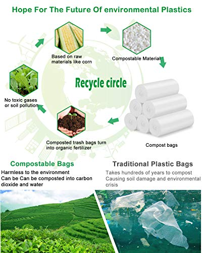 13-15 Gallon Tall Kitchen Trash Bags Compostable Trash bags 1.18Mils Unscented Trash Bags fit 55L Garbage Can White Heavy Duty Garbage Bags for Kitchen Garden Backyard Home