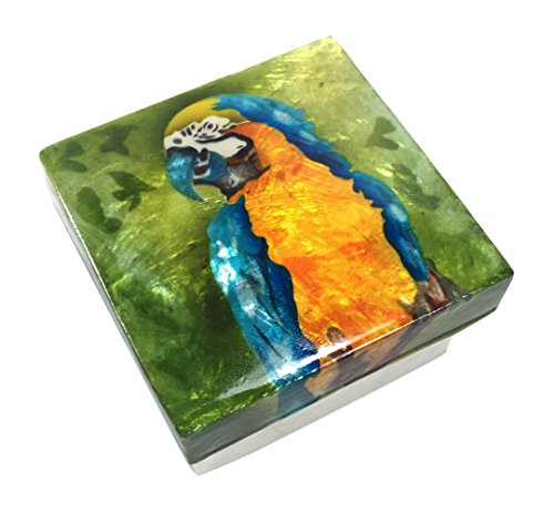 Kubla Craft Blue and Gold Macaw Parrot Capiz Shell Keepsake Box, 3 Inches Square