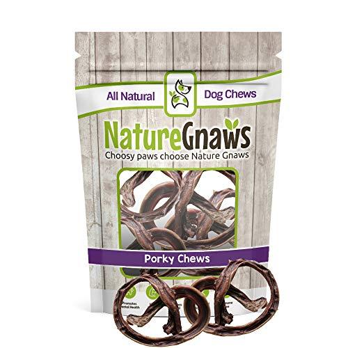 Nature Gnaws Porky Pretzels 4-5 (15 Pack) - 100% All-Natural Premium Dog Chews