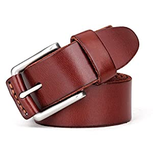 Tonly Monders Vintage Genuine Leather Belt For Men Black/Brown/Coffee, 1 1/2 Inch Width, 36 37 38 Waist