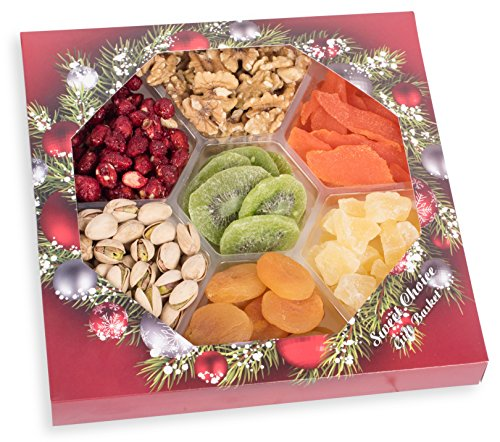 Holiday Gourmet Assorted Nuts Dried Fruit Tray (7-Flavors) Christmas, New Year's Mixed Snacks | (Small Dried Fruit Gift Basket)