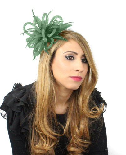 Mini Crin Feather Fascinator - Army by Hats By Cressida