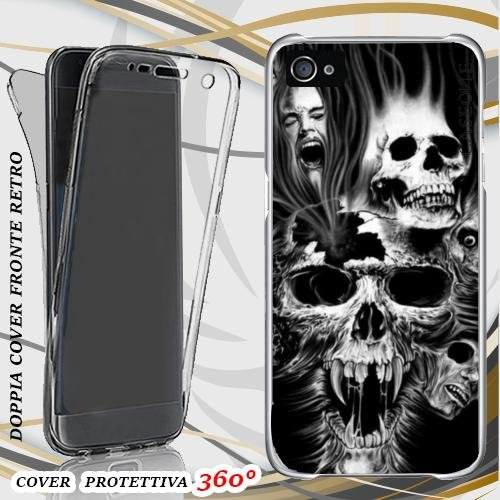 CUSTODIA COVER CASE GRIDO SKULL PAURA PER IPHONE 4 FRONT BACK
