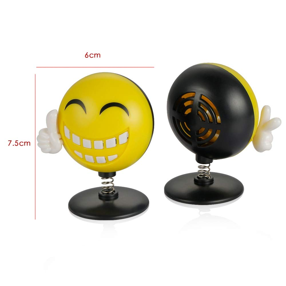 Gold Happy Car Ornament ABS Cute Shaking Head Happy Face Perfume Decoration Auto Interior Smile Energy Lovely Air Freshener Solid Balm