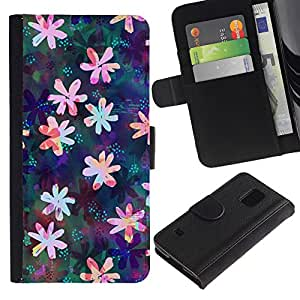 UberTech / Samsung Galaxy S5 V SM-G900 / Flower Floral Drawing Iridescent Feminine / Cuero PU Delgado caso Billetera cubierta Shell Armor Funda Case Cover Wallet Credit Card