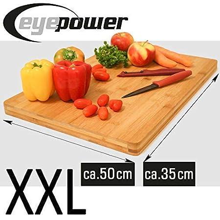 eyepower 3cm Thick XL Bamboo Cutting Board 50×35cm Large Wooden Chopping Block