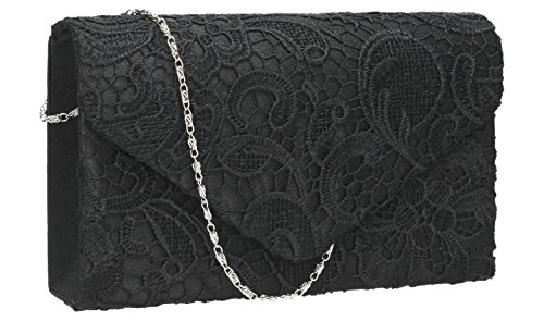 Holly Lace Envelope Womens Party Prom Wedding Bridal Clutch Bag - Silver Black