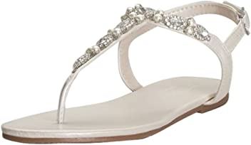 40d2778fb27821 David's Bridal Pearl and Crystal T-Strap Sandals Style Sarina