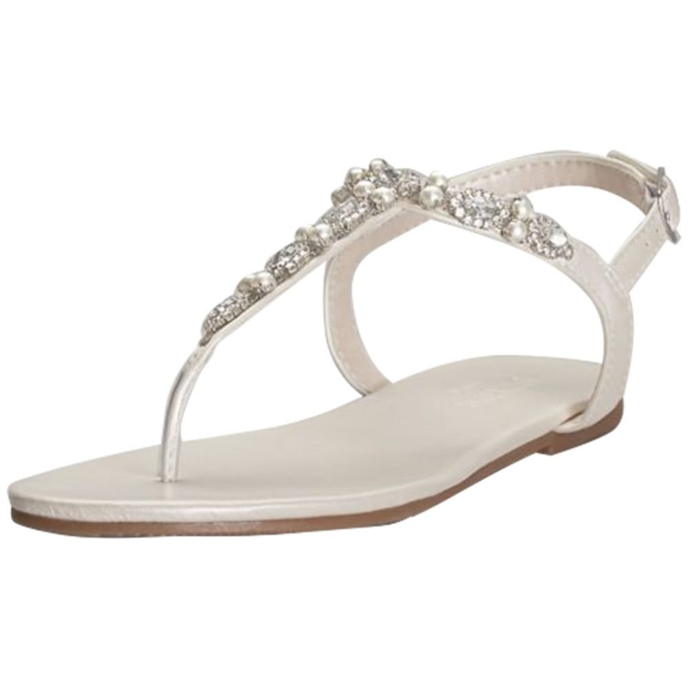 David's Bridal Pearl and Crystal T-Strap Sandals Style Sarina, Ivory, 10