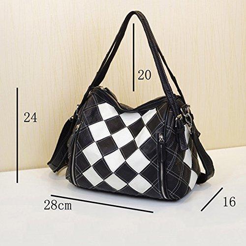 Noir Sac sac En Cuir Main Femme Blanc Bandoulière À Et Yjiujiu Diagonale Pour 1vwdq1