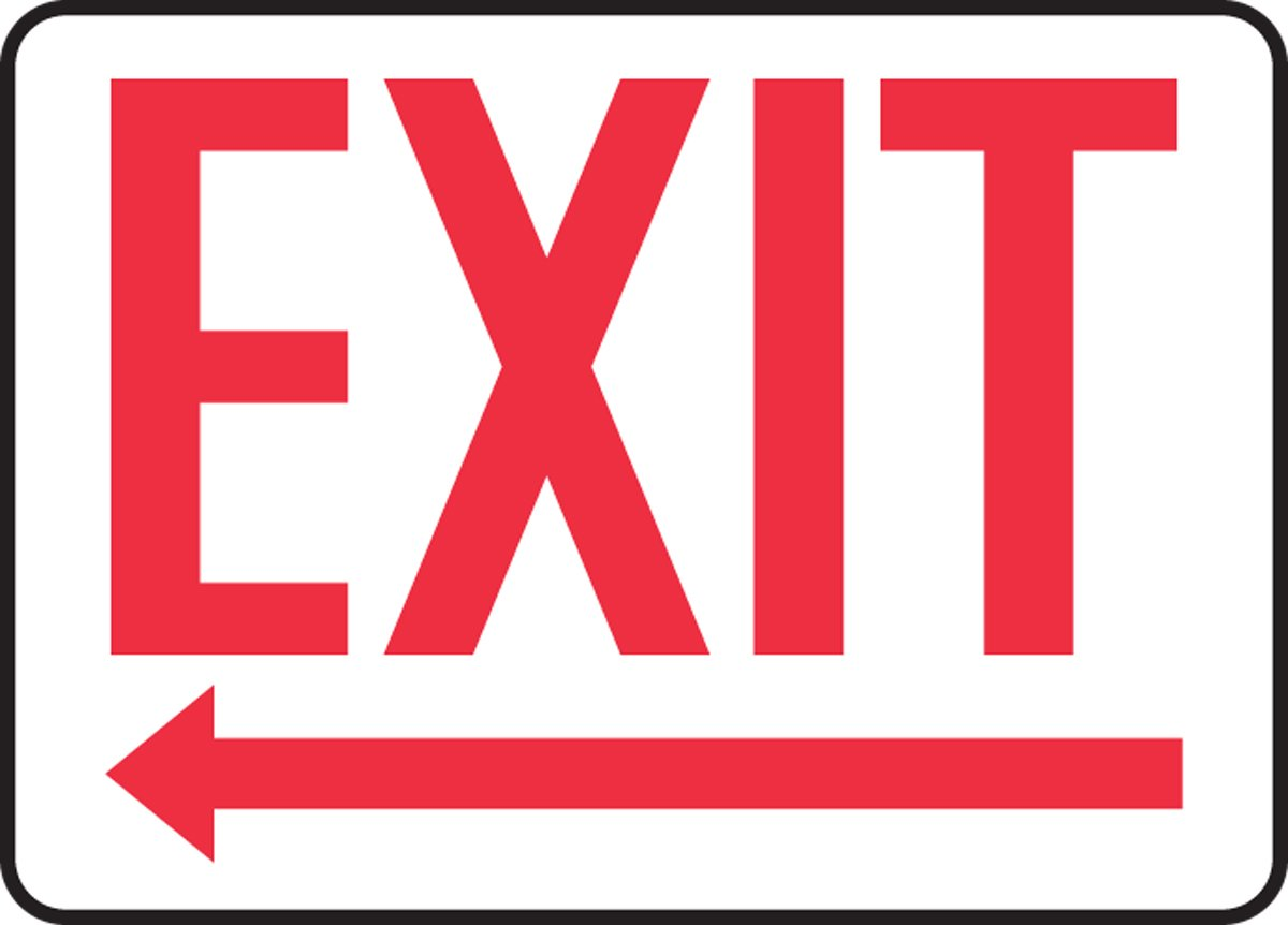 MADC532XP AccuformExit Accu-Shield Safety Sign Left Arrow 10 x 14 Inches