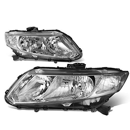 For Honda Civic Pair Chrome Housing Clear Side Headlight/Lamps Left+Right (2013 Honda Civic Si Sedan Front Bumper)