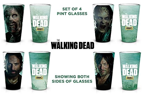 Daryl From Walking Dead Costume (18oz AMC's OFFICIAL The Walking Dead Biters Creepers Walkers and Zombies PREMIUM Pint Glass GIFT)