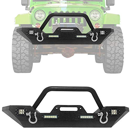 TRIL GEAR Front Bumper Fit for 2007-2018 Jeep Wrangler JK Off Road Winch Plate & 4X LED Accent Lights