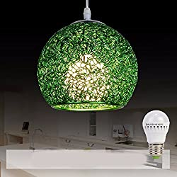 HQLCX Chandelier Originality personality modern simplicity bedroom terrace bar led aluminium wire fishing line pendant lamp,green