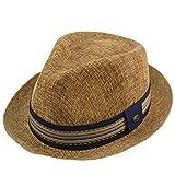 Men's Primo Summer Lightweight Linen Derby Fedora Upturn Brim Hat S/M