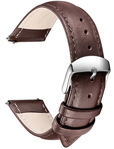 Quick Release Leather Watch Band, SONGDU Full Grain Genuine Leather Replacement Watch Strap with Stainless Metal Buckle Clasp 16mm, 18mm, 20mm, 22mm, 24mm (16mm, Dark Brown)