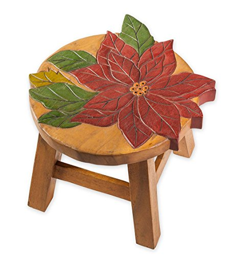 Carved Footstool - Hand Carved Acacia Wood Poinsettia Footstool, 12 dia. x 10 H