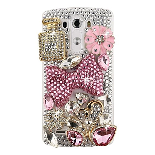 Spritech(TM) Clear Phone Case,Bling 3D Handmade Crystal Bottle Swan Bowknot Pattern Design Hard Smartphone Cover for LG G5