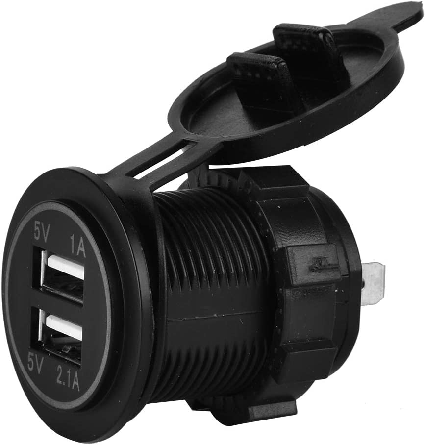 Acouto Car Charger Waterproof Dual USB Charger Socket Power Outlet 3.1A With LED Indicator for Car Marine Boat Motorcycle Caravan Truck Mobile