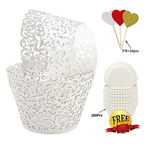 BAKHUK 100Pcs White Vine Lace Hollow Cupcake Wrappers Cupcake Liners and 200Pcs White Baking Cups for Wedding, Birthday, Party etc. … - Jumbo Cupcake Wrappers