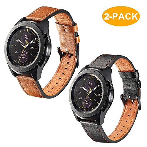 for Samsung Galaxy Watch 42mm Band - 2 Pack Premium Genuine Leather Straps with Black Buckle for Mens, Brown + Black