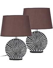 Brubaker Sängbordslampa – set med 2 – brun lampskärm och brun/vit keramisk bas – höjd 36 cm