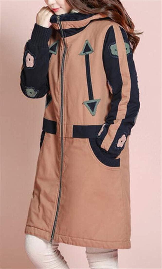 XXBlosom Womens Casual Hooded Spell Color Warm Applique Parka Jacket Coat