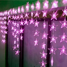 4M x 0.7M 90 LED 8 Modes Star Pentagram Wave Light Indoor / Outdoor Party Christmas Xmas Star Pentagram Wave Shape String Fairy Wedding / Hotel / Festival Curtain Light Curtain Festival Light Christmas Xmas Decoration (Purple)
