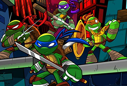 ERIC 7x5ft Cartoon Teenage Mutant Ninja Turtle Backdrop for Kids Birthday Theme Party Banner Baby Shower Photography Background Photo Booth Props & Room Mural LF096