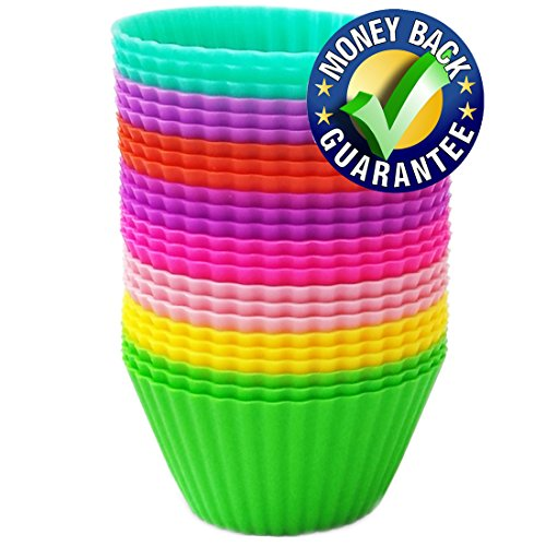 Silicone Baking Cups – Premium Quality – Non-Stick – Best 24 Cupcake Liners – Special Gift Packaging – Enjoy