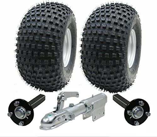 ATV Trailer Kit Räder + Nabe - Stub + Schwenkkupplung, 310kg, Reifen sind 22x11.00-8 4ply P323 Wanda Knobbly Reifen