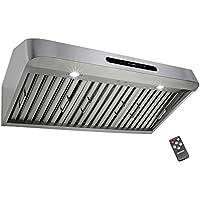 Golden Vantage 36 Under Cabinet Stainless Steel Kitchen Cooking Remote Range Hood w/ Gas Sensor