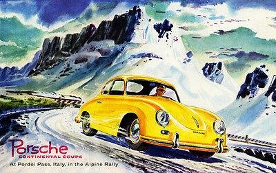 1955 Porsche Continental Coupe - Alpine Rally - Promotional Advertising - Print Vintage Deco Art Advertising