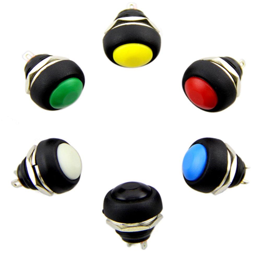 Mini 12 mm a prueba de agua lockless bot/ón pulsador moment/áneo interruptor ON OFF color al azar 5pcs