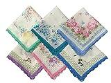vintage handkerchiefs - Forlisea Womens Beautiful Cotton Floral Handkerchief Wendding Party Fabric Hanky 6 pcs