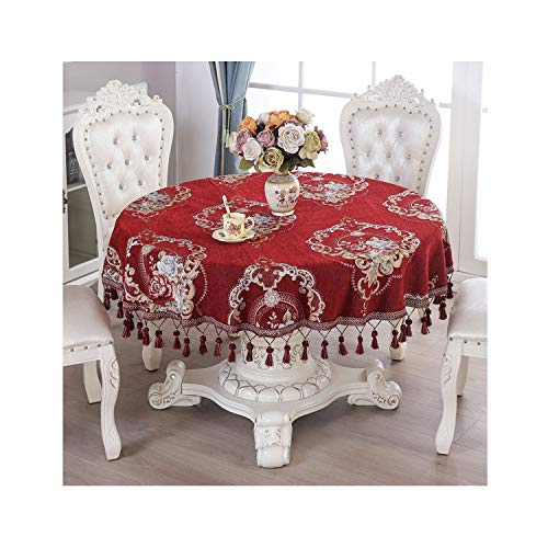 wing Proud Rose Chenille Table Cloth European Round Tablecloths Pendant Thicken Tea Table Cover ized Hotel ()