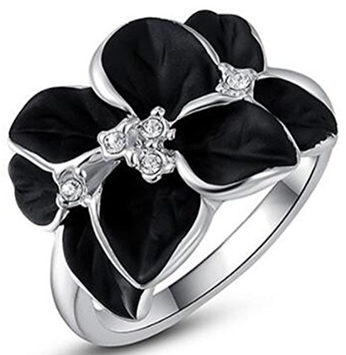 TEMEGO Black Enamel Flower Ring - 14k White Gold Austrian Crystal Cocktail Ring Women Girls Gift,Size - Ring Cocktail Bloom Crystal
