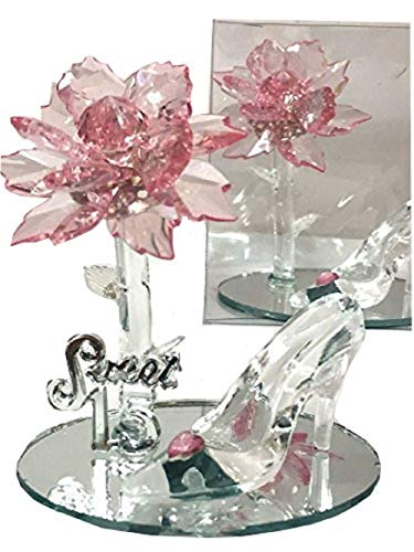 Mis Quince Anos Sweet 15 Acrylic Flower with High Heel Shoe Favor Gift Pink]()