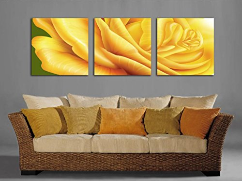 Spirit Up Art Yellow Gorgeous Flowers, Picture Painting on Canvas Print Stretched and Framed,Ready to Hang, Modern Home Decorations Wall Art set of 3 Each is 50*50cm D01-181