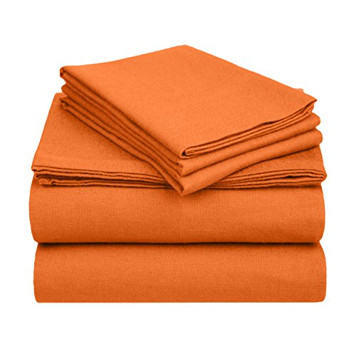 Superior Premium Cotton Flannel Sheets, All Season 100% Brushed Cotton Flannel Bedding, 4-Piece Sheet Set with Deep Fitting Pockets - Pumpkin Solid, King Bed (Sheet Fleece King Polar Set)