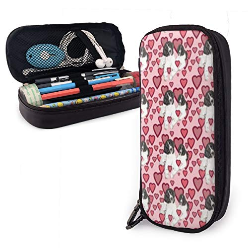 (Pencil Case Hearts and Landseer Newfoundland Dogs Big Capacity Leather Durable Students Stationery Pen Bag with Double Zipper Pen Holder for School/Office)