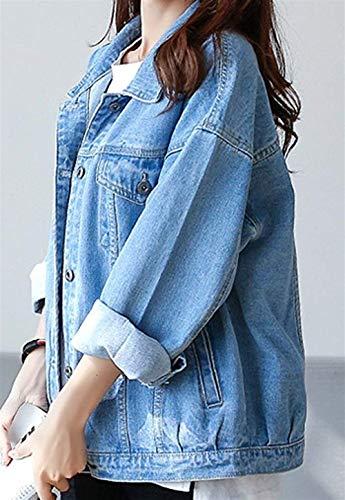 Donna Autunno Blau Casual Blu Chic Stile Primaverile Giacca Bavero Outwear Maniche Moda Ragazza Jeans Giovane Tendenza Elegante 05 Lunghe Cappotto Relaxed Streetwear RXgx5qnp